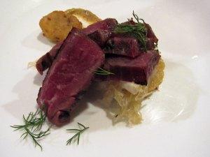 Flank Steak, Rye, Sauerkraut, Spicy Mustard at Degustation, New York City
