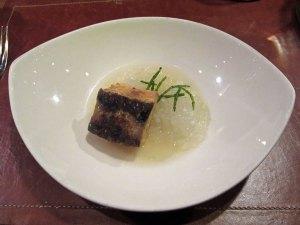 Sturgeon, Vegetable Caviar, Sea Beans at Degustation, New York City