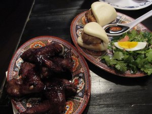 Pork Steamed Buns & Jalan Alor Chicken Wings at Fatty Crab Upper West Side, New York City