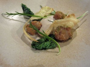 Caramelised parsnip and meadowsweet, duck sweetbread and black mustard