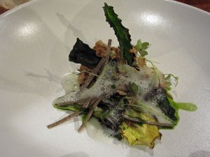 Grilled salad smoked over embers, Isle of Mull cheese, custard, cobnuts