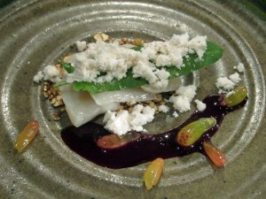 Marinated scallop, toasted seeds, red cabbage and wild sorrel
