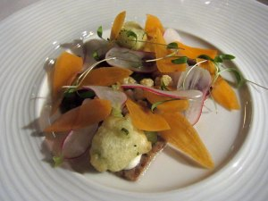 Pressed Pigs Head with Smoked Haddock and Pickled Vegetables