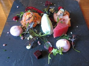 Smoked Salmon with Beetroot and Wasabi Mousse
