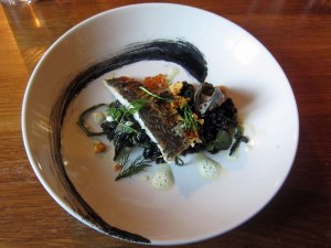 Mackerel with Squid Ink Pearl Spelt, Mussel, Samphire and Trout Roe